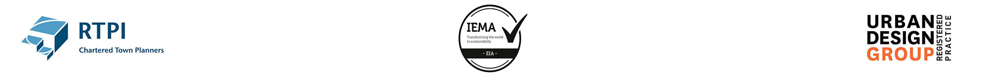 RTPI Chartered Town Planners, IEMA Quality Mark and Urban Design Group Registered Practice